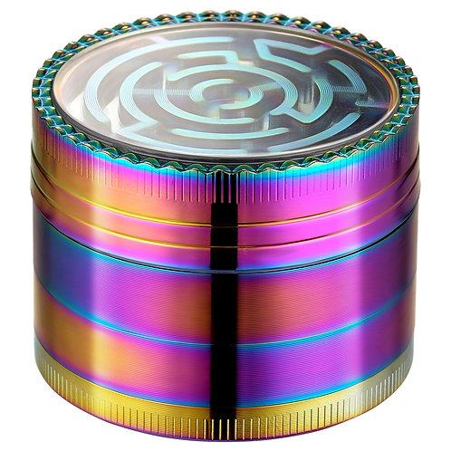 Golden Bell 2 Inch Spice Herb Grinder, Labyrinth Design - Rainbow Color