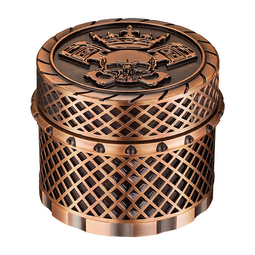 Golden Bell 2 Inch Spice Herb Grinder, Crown Skull - Red Bronze