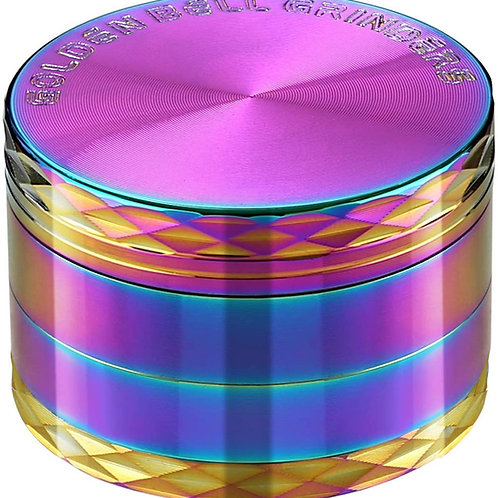 Golden Bell 2 Inch Spice Herb Grinder - Stylish, Rainbow Color