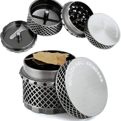 Golden Bell 4 Piece Thread-less Spice Herb Grinder, 2.2 Inch - Ancient Silver