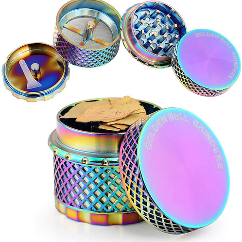 Golden Bell 4 Piece Thread-less Spice Herb Grinder, 2.2 Inch - Rainbow Color