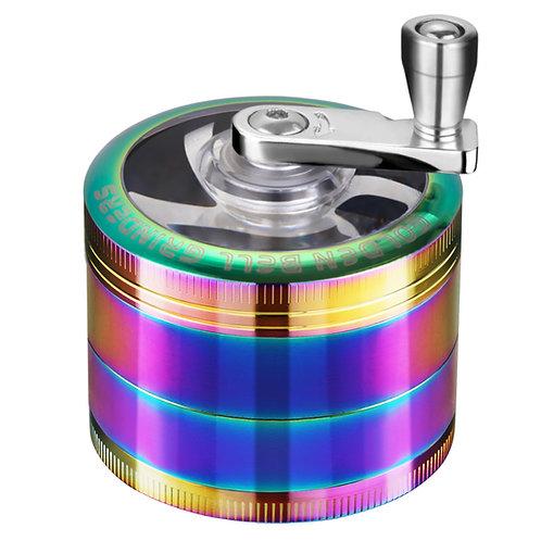 Golden Bell Hand Cranked Spice Herb Grinder, 2 Inch - Rainbow Color