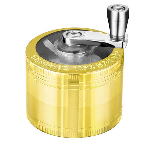 Golden Bell Hand Cranked Spice Herb Grinder, 2 Inch - Gold