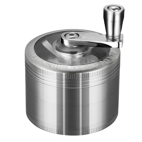 Golden Bell Hand Cranked Spice Herb Grinder, 2 Inch - Ancient Silver