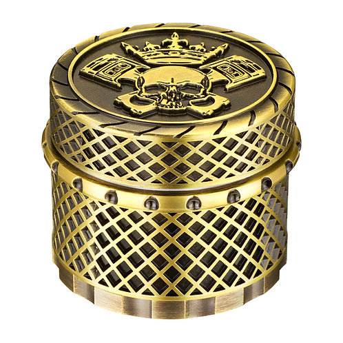 Golden Bell 2 Inch Spice Herb Grinder, Crown Skull - Bronze