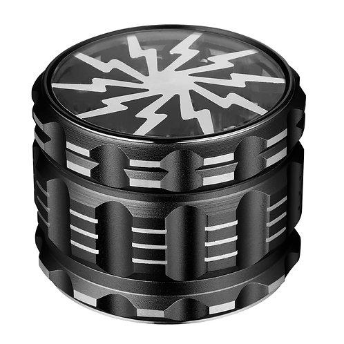 Golden Bell 2.5 Inch Aluminum Spice Herb Grinder Lightning Shape - Matte Black