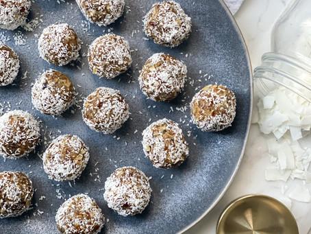 Caramel coconut date balls