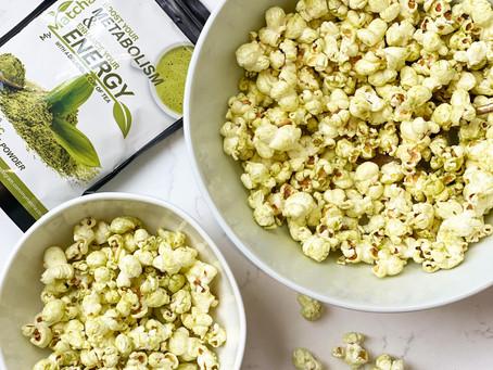 Green matcha coated Popcorn