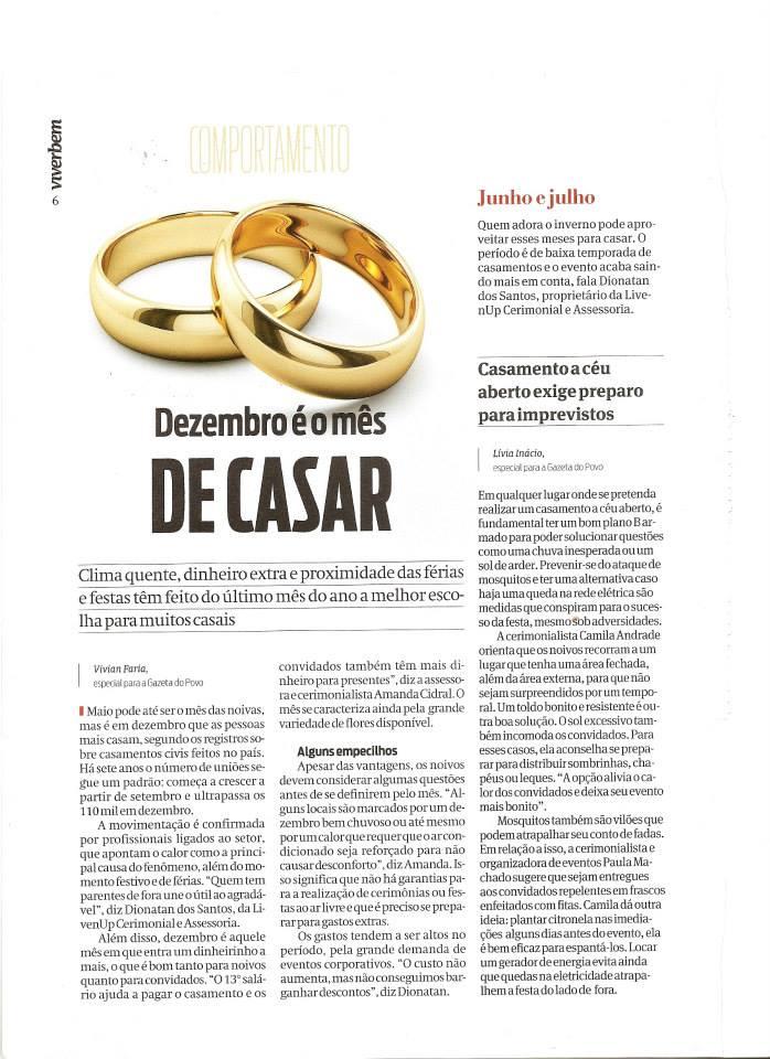 Matéria Gazeta do povo Dezembro mês de casar