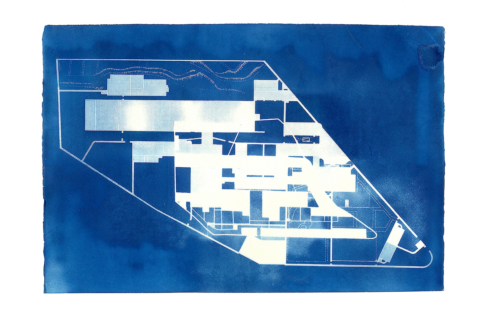 """5 0. 4 7 4 9°  N,  4. 7 2 8 6°  W  [E D I T I O N  3]  2 0 1 4 C Y A N O T Y P E  2 3  x  3 3 """"  A series of cyanotypes of Bodmin Jail made in conjunction with the project '12 Hour Cell'. This collaboration with Lucy Crump shows floor plans of the prison before and after it's extension to accommodate more inmates."""