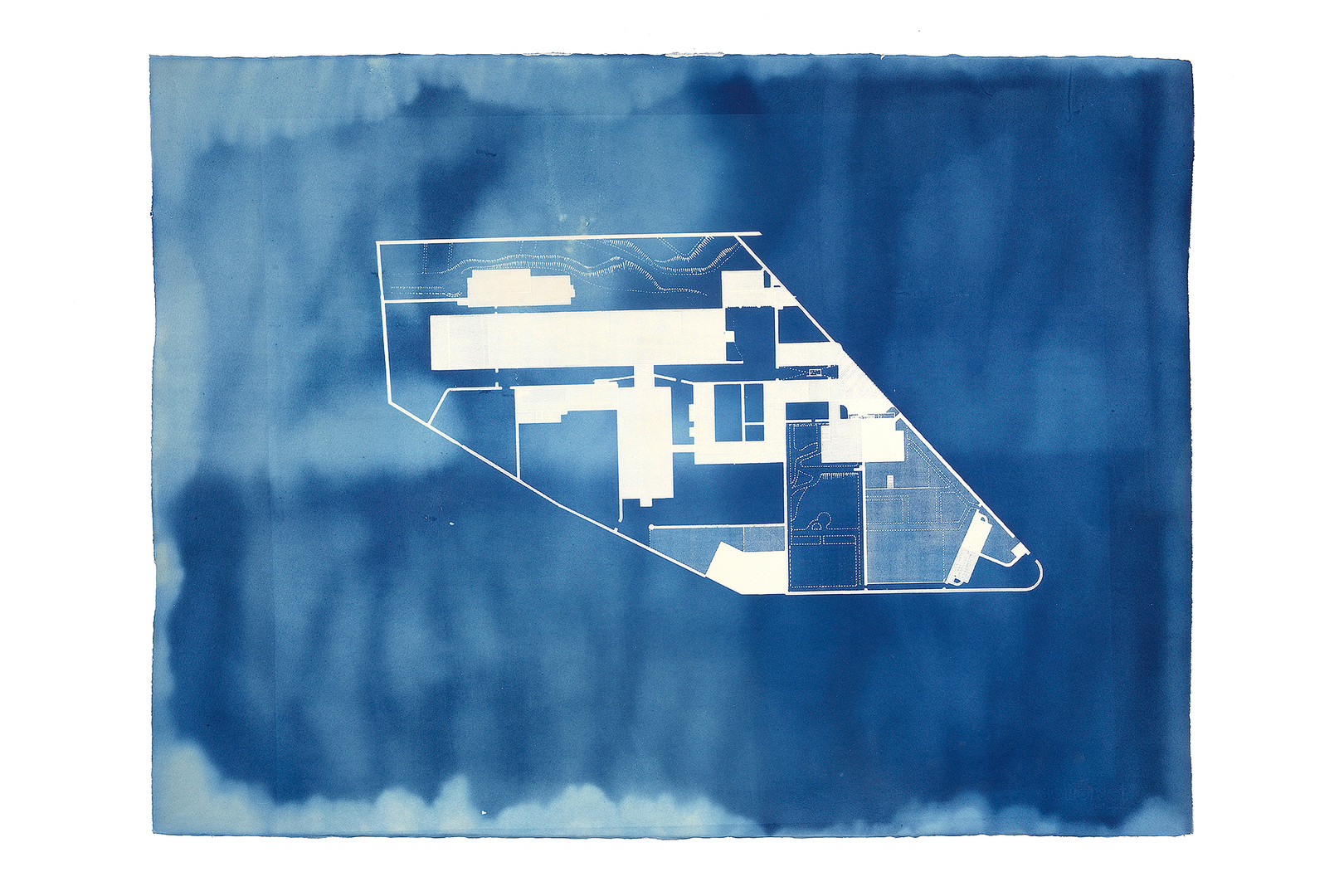 """5 0. 4 7 4 9°  N,  4. 7 2 8 6°  W  [E D I T I O N  2]  2 0 1 4 C Y A N O T Y P E  2 3  x  3 3 """"  A series of cyanotypes of Bodmin Jail made in conjunction with the project '12 Hour Cell'. This collaboration with Lucy Crump shows floor plans of the prison before and after it's extension to accommodate more inmates."""