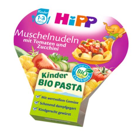 Hipp Bio Kinderteller Kinder Bio Pasta Muschelnudeln mit Tomaten und Zucch