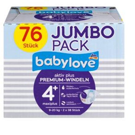 Babylove Aktiv Plus Premium-Windeln Nummer 4+ Maxiplus 9-20 Kg 76
