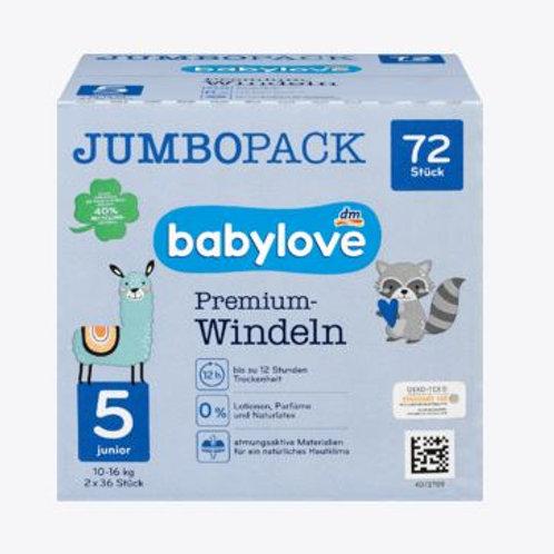 Babylove Premium-Windeln Gr. 5 Junior 10-16 Kg 72 Stk.