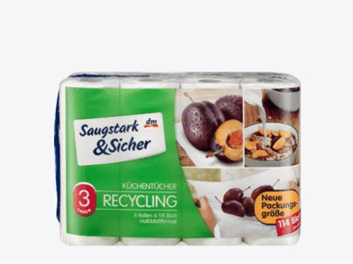 Saugstark&Sicher Küchentücher Recycling 3-lagig (8x114 Halbblatt4x51 Blatt, 4 St