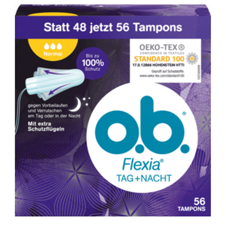 o.b. Tampons Flexia Tag und Nacht Normal, 56 St