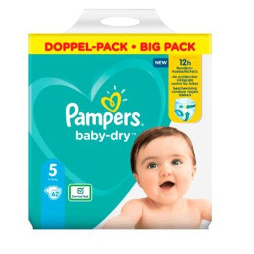 Windeln Pampers Baby Dry, Grösse 5 Junior, 11-16kg, Doppelpack, 62 St