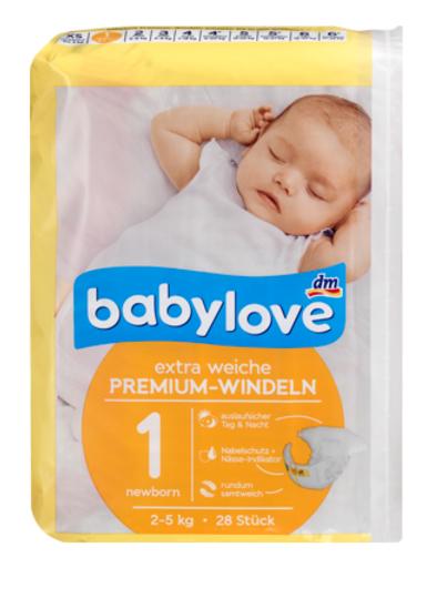 Babylove Premium Windeln New Born Grösse 1 = 2-5 Kg (28 Stk.)