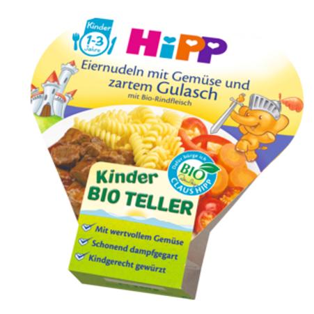 Hipp Bio Kinderteller Eiernudeln mit Gemüse und zartem Gulasch ab 1 Jahr, 250 g