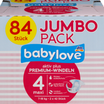 Babylove Aktiv Plus Premium-Windeln Nummer 4 Maxi 7-18 Kg 84 Stk.