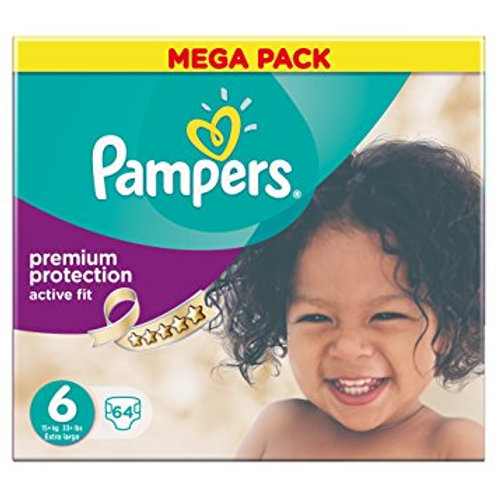Pampers Premium Protection Active Fit Gröse 6 X-Large ab 16 kg, Mega+ Pack, 64 S
