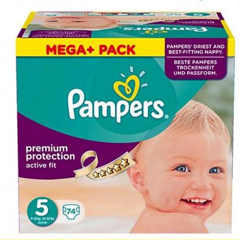 Pampers Premium Protection Active Fit Grösse 5 Junior, 11-23 kg, Mega+ 74 Stück