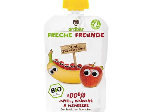 erdbär Freche Freunde Quetschbeutel 100% Apfel, Banane & Himbeere ab 1 Jahr, 100