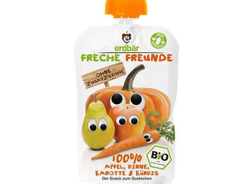 erdbär Freche Freunde Quetschbeutel 100% Apfel, Birne, Karotte & Kürbis ab 1 J.