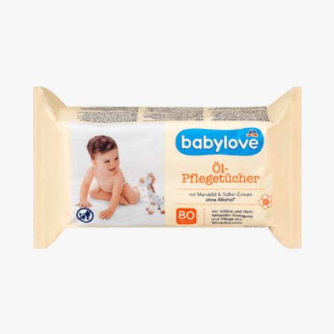 Babylove Öl-Feuchttücher mit Mandelöl und Salbei 1 Pack a 80 Tücher