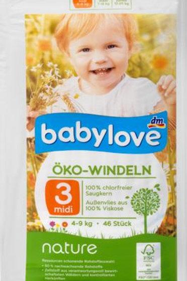 Babylove Öko-Windeln Nummer 3 für sensible Haut 4-9 Kg 36 Stk.