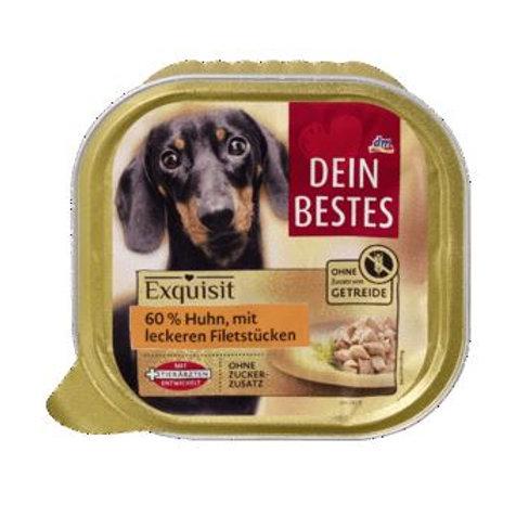 Dein Bestes Exquisit, Nassfutter für Hunde, Huhn, 300 g