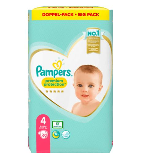 PAMPERS Premium Protection, Grösse 4 Maxi, 9-14 kg, Doppelpack, 60 St