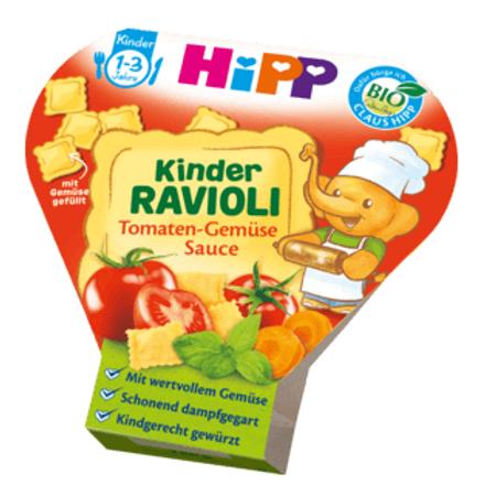 Hipp Bio Kinderteller Kinder Ravioli Tomaten-Gemüse Sauce ab 1 Jahr, 250 g