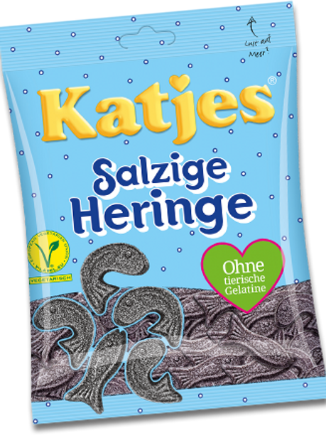 Katjes Salzige Heringe Vegetarisch, Beutel 200 gramm
