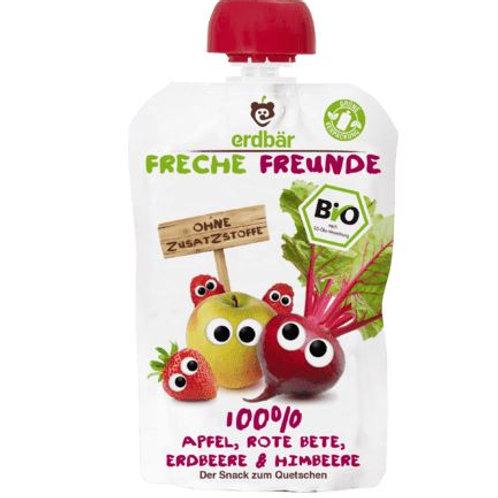 erdbär Freche Freunde Quetschbeutel 100% Apfel, Rote Beete, Erdbeere & Himbeere