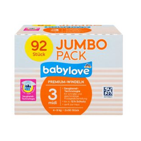 Babylove Aktiv Plus Premium-Windeln Nummer 3 Midi 4-9 Kg 92Stk.