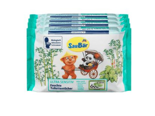 Saubär Moist Toilet Tissues Ultra Sensitive, 4 x 60 pieces, 240 pieces