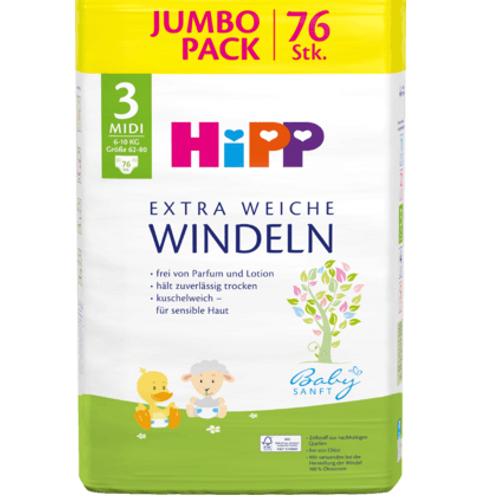 Hipp Windeln Gr. 3 Midi Jumbo Pack, 76 St