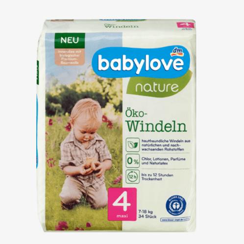 Babylove Öko-Windeln Nummer 4 für sensible Haut 7-18 Kg 34Stk.