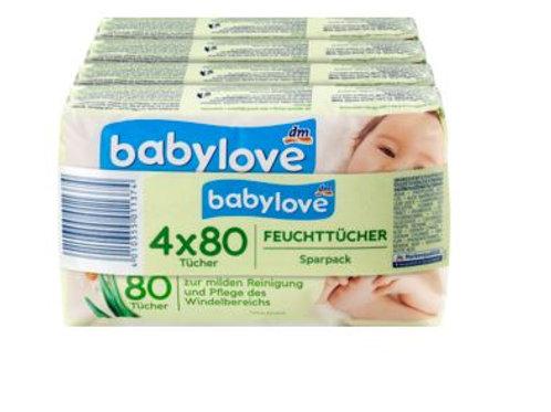 Babylove Feuchttücher Kamille 4 Pack a 80 Tücher