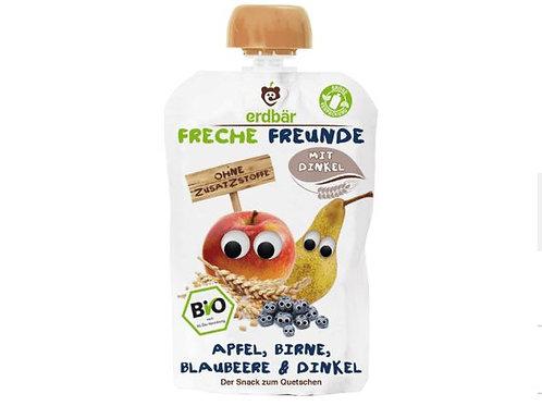 erdbär Freche Freunde Quetschbeutel Apfel, Birne, Blaubeere & Dinkel ab 1 Jahr,