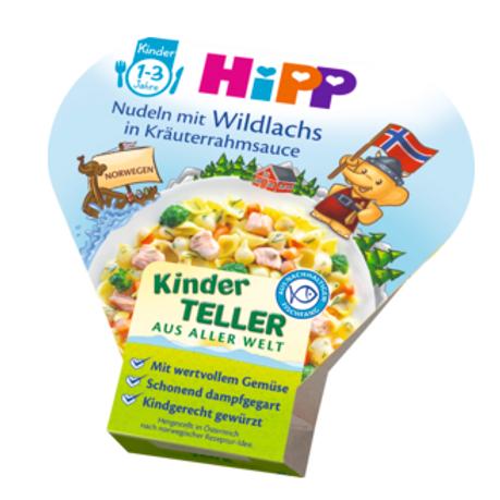 Hipp Bio Kinderteller Nudeln mit Wildlachs in Kräuterrahmsauce ab 1 Jahr,