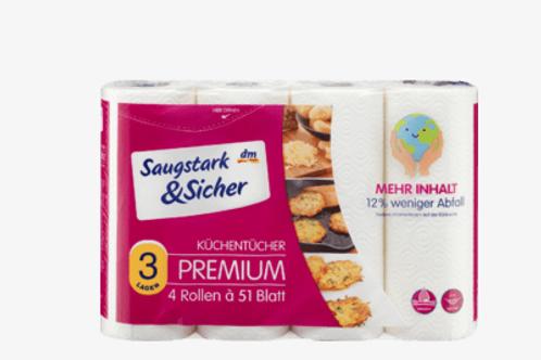 Saugstark&Sicher Küchentücher Premium 3-lagig 4x51 Blatt, 4 St