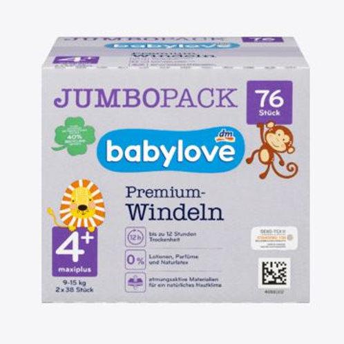 Babylove Premium-Windeln Gr. 4+ Maxiplus 9-15 Kg 76 Stk.