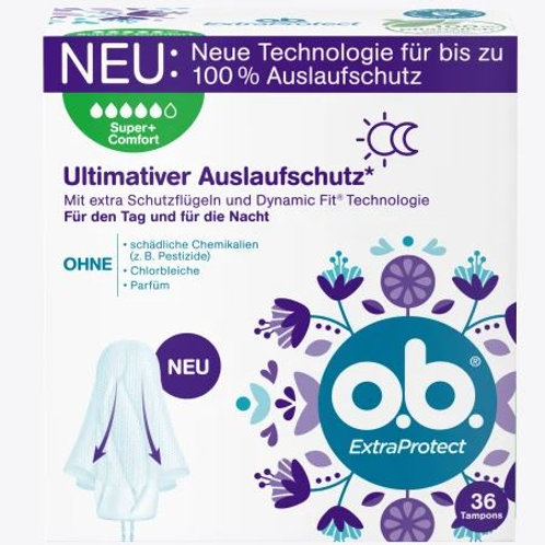 o.b. Tampons Extra Protect Tag+Nacht Super Plus, 36 St