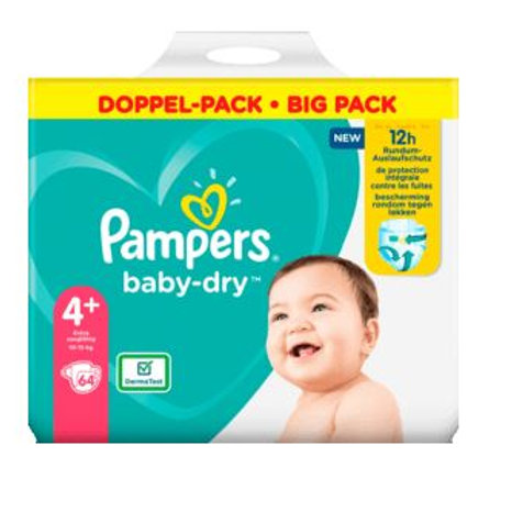 Windeln Pampers Baby Dry, Grösse 4+ Maxi Plus, 10-15kg, Doppelpack, 64 St