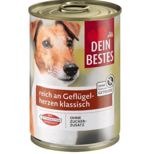 Dein Bestes Nassfutter für Hunde, reich an Geflügelherzen klassisch, 400 g