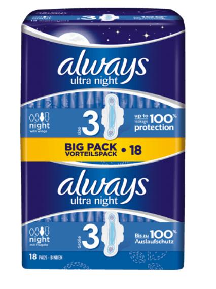 Always Ultra Binde Night Vorteilspack, 18 St (4015400498124)