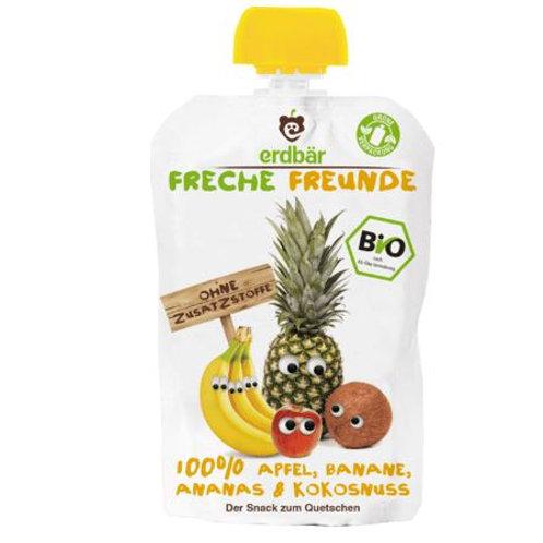 erdbär Freche Freunde Quetschbeutel 100% Apfel, Banane, Ananas & Kokosnuss ab 1