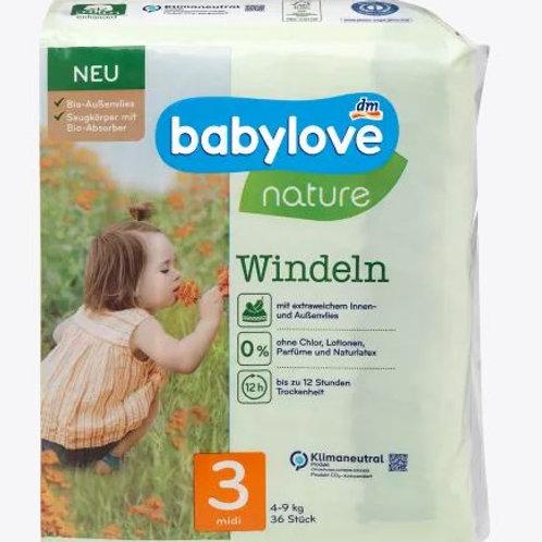 Babylove Nature-Windeln Nummer 3 Midi Biovlies 4-9 Kg 36 Stk.